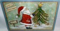 Glass Cutting Board Santa Decorating Tree 11 3/4 X 7 3/4