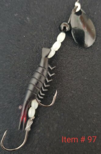 4 Black Kokanee and Trout Micro Shrimp spinner lures