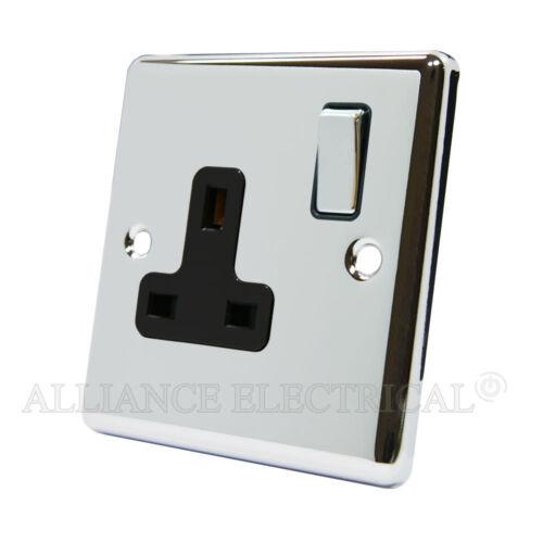 Chrome poli classique support 1 Gang 13 Amp Prise unique de 1g plug point