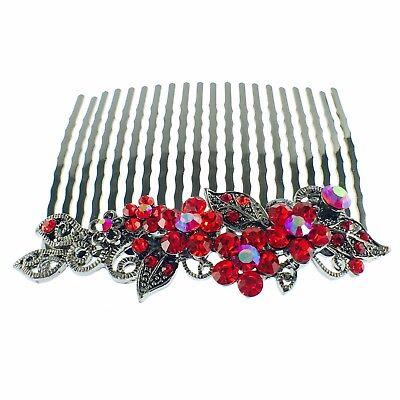 USA Hair Comb Hairpin use Swarovski Crystal Vintage Elegant Charming RED Z10