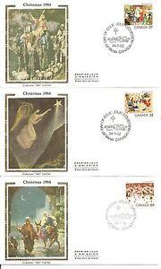 Canada-SC-1040-1042-Christmas-1984-FDC-3-Covers-Set-Colorano-Silk-Cachet