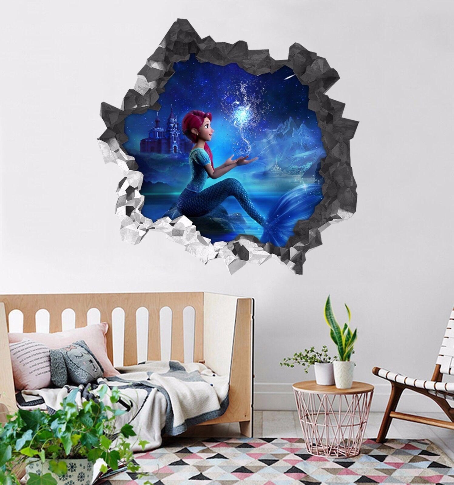 3D Bella Sirena Magica 201 Parete Murales Parete Adesivi Decal Sfondamento IT