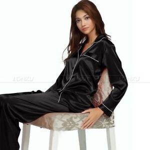 36bca246d7a9d Womens Ladies Silk Satin Pajamas Set Pajamas for women plus size ...