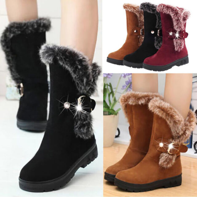 Winter Women Ladies Snow Boots Fashion Fur Warm Buckle Casual Mid Calf Shoes