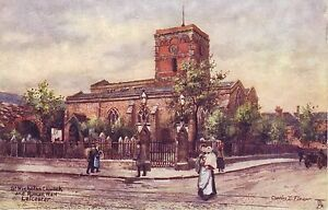 Tuck-039-s-034-Oilette-034-St-Nicholas-Ch-amp-Roman-Wall-Leicester-by-Artist-Charles-Flower