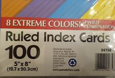 Oxford 5x 8 100 Ruled Index Cards 8 Extreme Colors 4 Wild Combinations New
