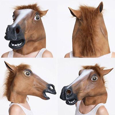 Mutig Pferdemaske Latex Braune Pferdekopf Horse Head Brown Kostüm Karneva Gangnan Pop