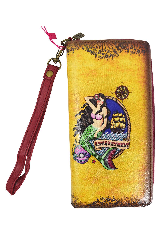 Lavishy Traditional Pin Up Mermaid Ship Tattoo Art Wallet w/Gift Box