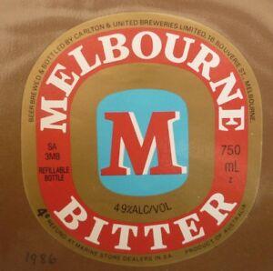OLD-AUSTRALIAN-BEER-LABEL-1980s-MELBOURNE-BITTER-CUB-750-ML-4c-REFUND
