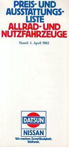 Sammeln & Seltenes Zielsetzung Nissan Preisliste 1982 1.4.82 Patrol Urvan Price List Prijslijst Die Neueste Mode