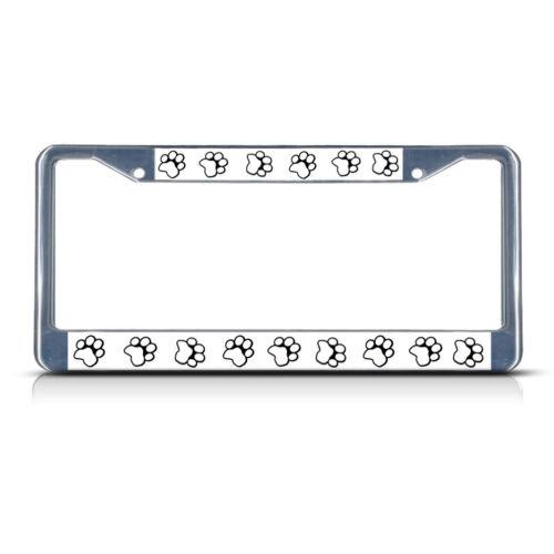 DOG PAW PRINT Black Heavy Duty Metal License Plate Frame