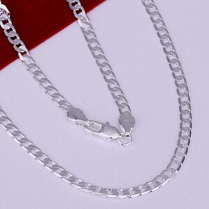 925Sterling-Silver-Lovely-Flat-Full-Sideways-Men-Women-Chain-Necklace-4MM-NY132