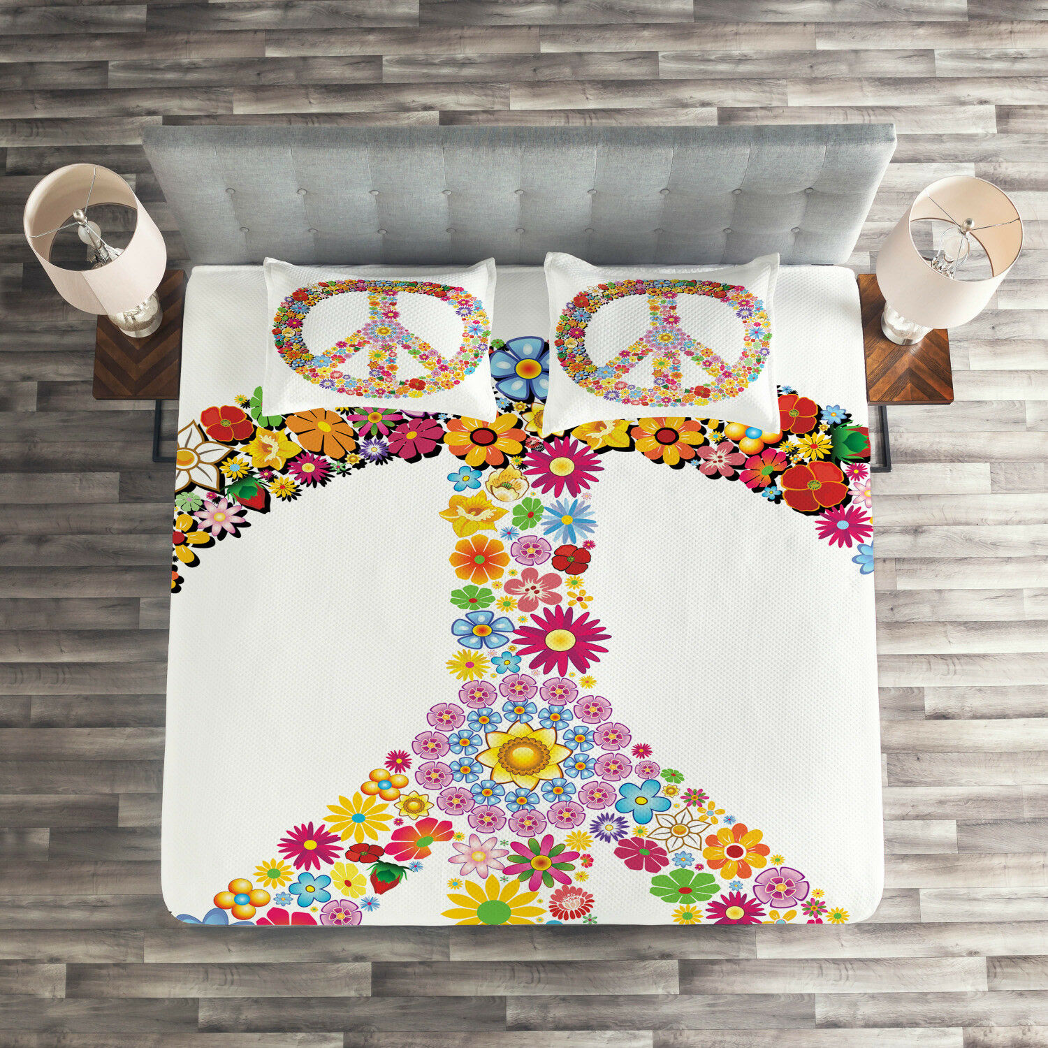 Hippie Quilted Coverlet & Pillow Shams Set, Floral Peace Symbol Print