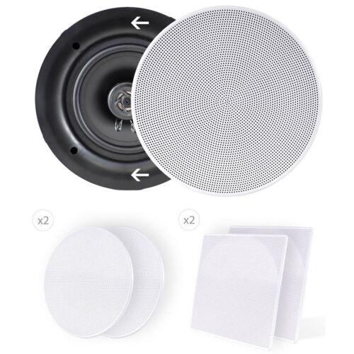 "Pyle PDIC66 6-1//2/"" 2-Way Flush Mount In-Wall Ceiling Speaker Pair White"
