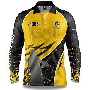 AFL-2020-Long-Sleeve-Fishing-Polo-Tee-Shirt-Richmond-Tigers-Adult-Youth