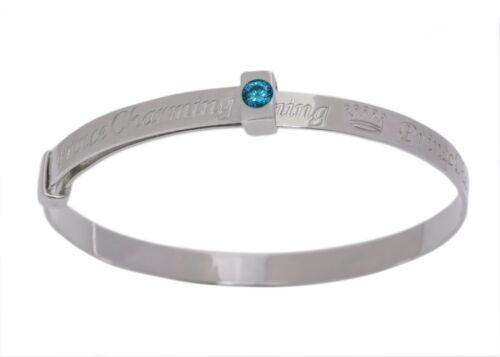 Fine Silver Blue Cubic Zirconia Prince Charming Expanding Boys Baby Bangle