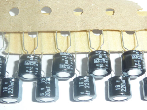 10pcs 220uF 16V 8X7mm Rubycon MS7 16V220uF Aluminum Electrolytic Capacitor