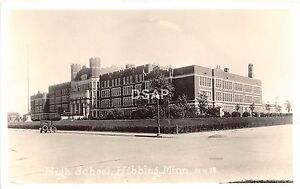 C83-Hibbing-Minnesota-Mn-Real-Photo-RPPC-Postcard-c30s-High-School-Building