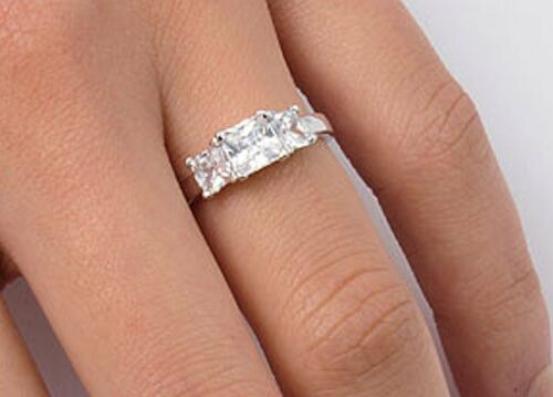 Three Stone Princess Cut C Z Ring Sterling Silver 1 ct.tw