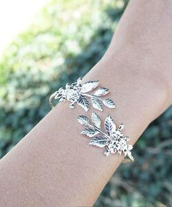 Leaf-Bracelet-Floral-Silver-Plated-Goddess-Adjustable-Bangle-Bracelet-Arm-Cuff