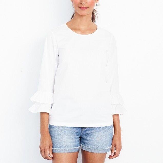 Jcrew damen Petite double ruffle-sleeve top Weiß Größe 6 G7562