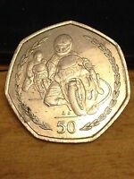 Isle of Man 1997 Queen Elizabeth II TT Racing 50p Fifty Pence Coin Smaller Style