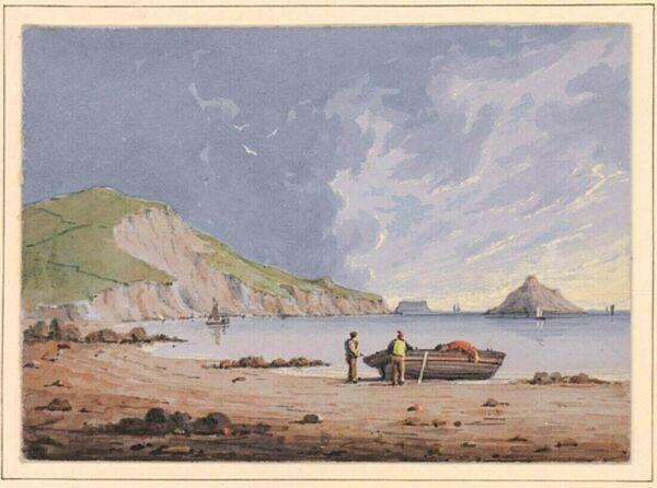 1850 Français Aquarelle Paysage / Corps De Eau Avec / Provenance, Exceptionnel Ni Trop Dur Ni Trop Mou