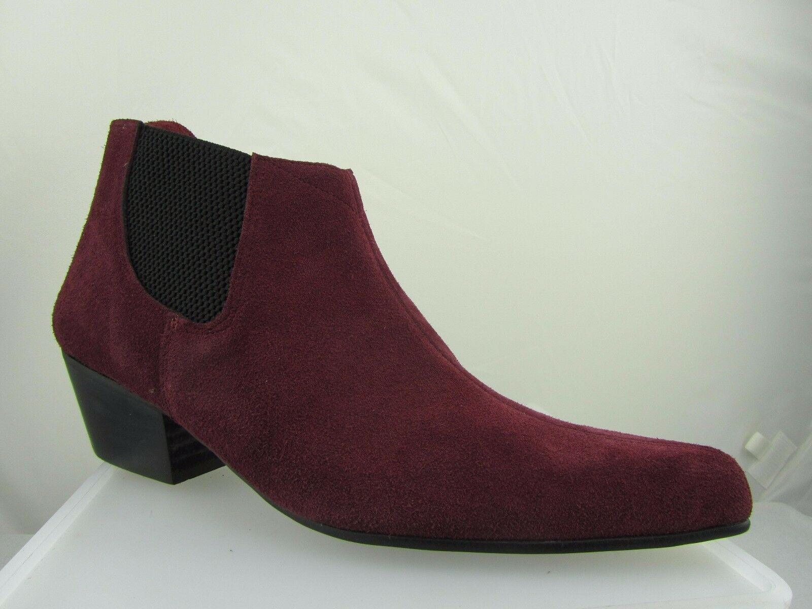 Retro Mens Burgundy Red Suede Chelsea Beat Boots Low Cuban Heel Beatle Pointed