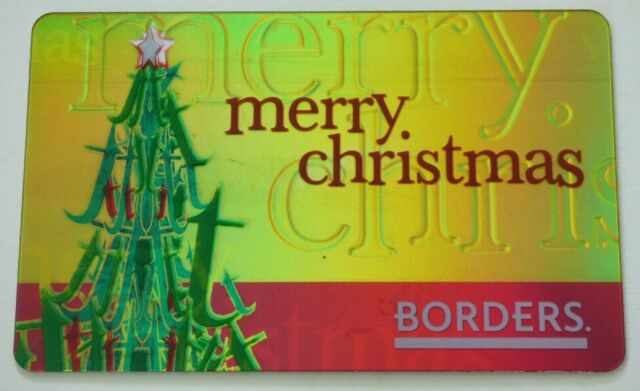 Borders Gift Card Christmas Tree, Gold Foil - 2007 - No Value - I Combine Ship