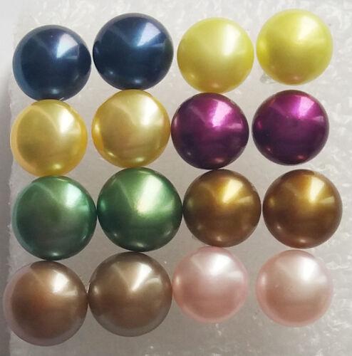 AAA Grade Wholesale 8Set 8Color 7-8MM Akoya Cultured Pearl Earrings Silver Stud