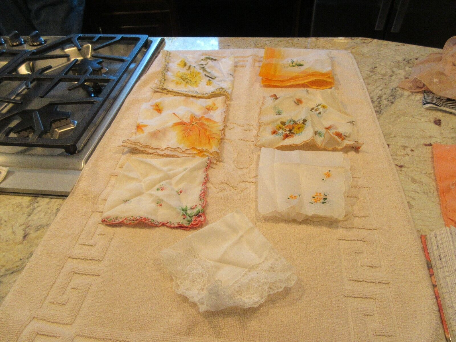 Lot of 7 Pretty Ladies HANDKERCHIEFS , Vintage , Fancy