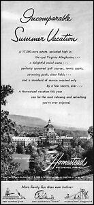 1955 The Homestead Hot Springs Virginia estate vintage photo Print Ad ads25