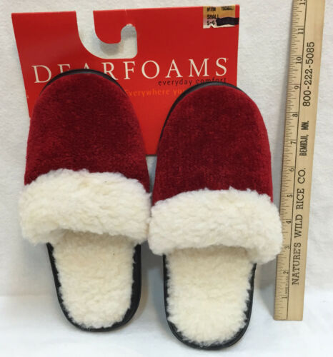 Slippers Slip On Scuff Clog Rubber Sole Dearfoams Size Small Black Red Green