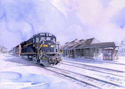 Quakertown PA Train Station in snow James Mann Prints East Penn Railroad #3153