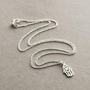 Sterling silver hamsa on silver chain