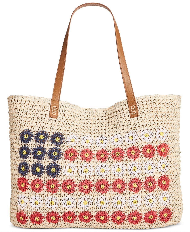 Style & Co Daisy Flag Straw Beach Bag