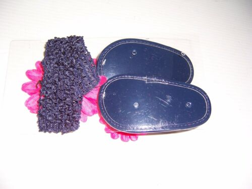STEPPING STONES BABY GIRL/'S HEADBAND SANDALS W// PINK FLOWERS SIZE 0-6 MONTH NEW!