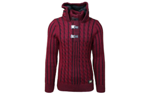 LCR-Men-039-s-Fashion-Sweater-Knit-Cardigan-Color-Burgundy-Black-5290