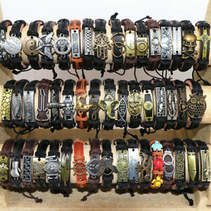 Wholesale-lots-30pcs-Mixed-Styles-Vintage-Alloy-leather-Cuff-Bracelets-Jewelry