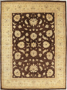 9X12 Hand-Knotted Oushak Carpet Traditional Brown Fine Wool Area Rug D48084