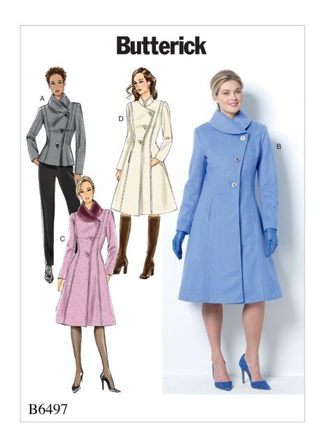 Butterick USA Sewing Pattern B 6497 F5 Ladies Coat Jacket Winter ...
