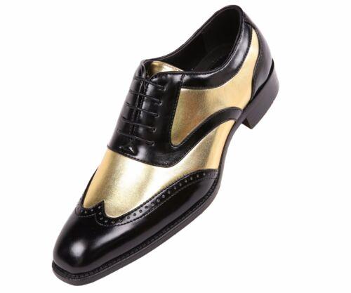 Bolano Men/'s Shiny Two Tone Wingtip Tuxedo Dress Shoes Designer Lace Up Oxfords
