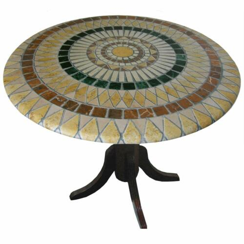 Mosaic Table Cloth Round 36 Inch To 48 Inch Elastic Edge Fitted Vinyl Table Cove