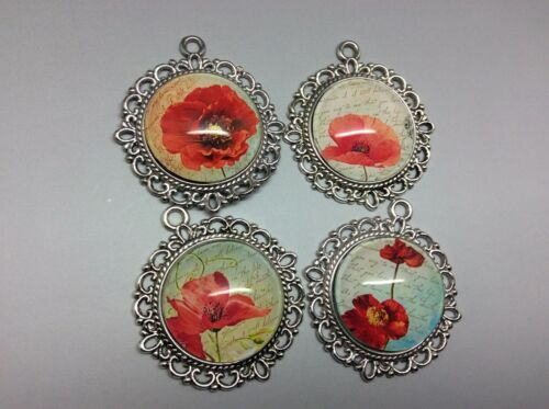 Pack of 4 Red Poppies Flowers Pendants for Necklace Key Phone Bag Charm Making