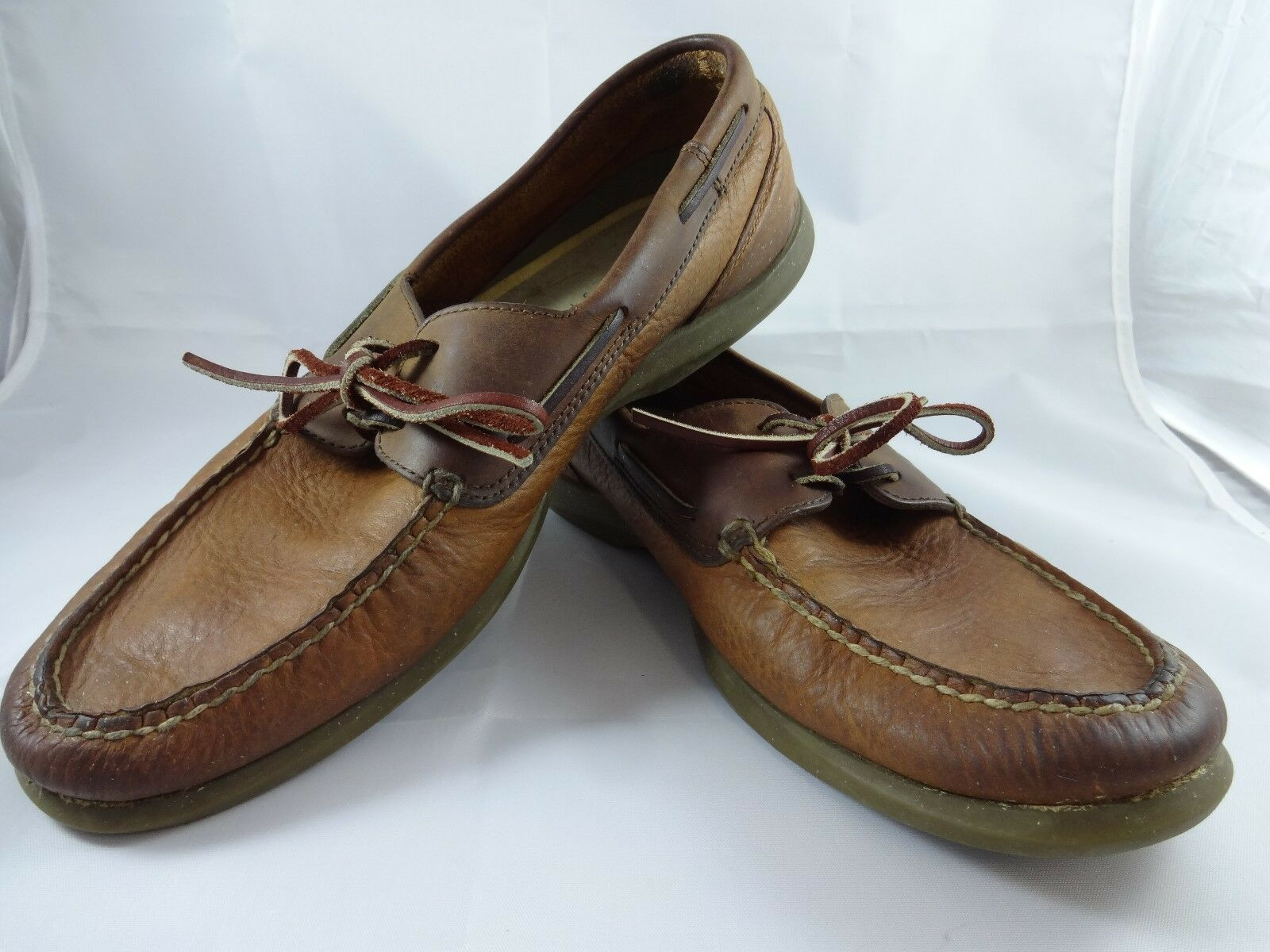 Scarpe casual da uomo Sperry Top Sider Boat Shoes Brown Leather uomos 11.5 D Gently Worn Two Toned