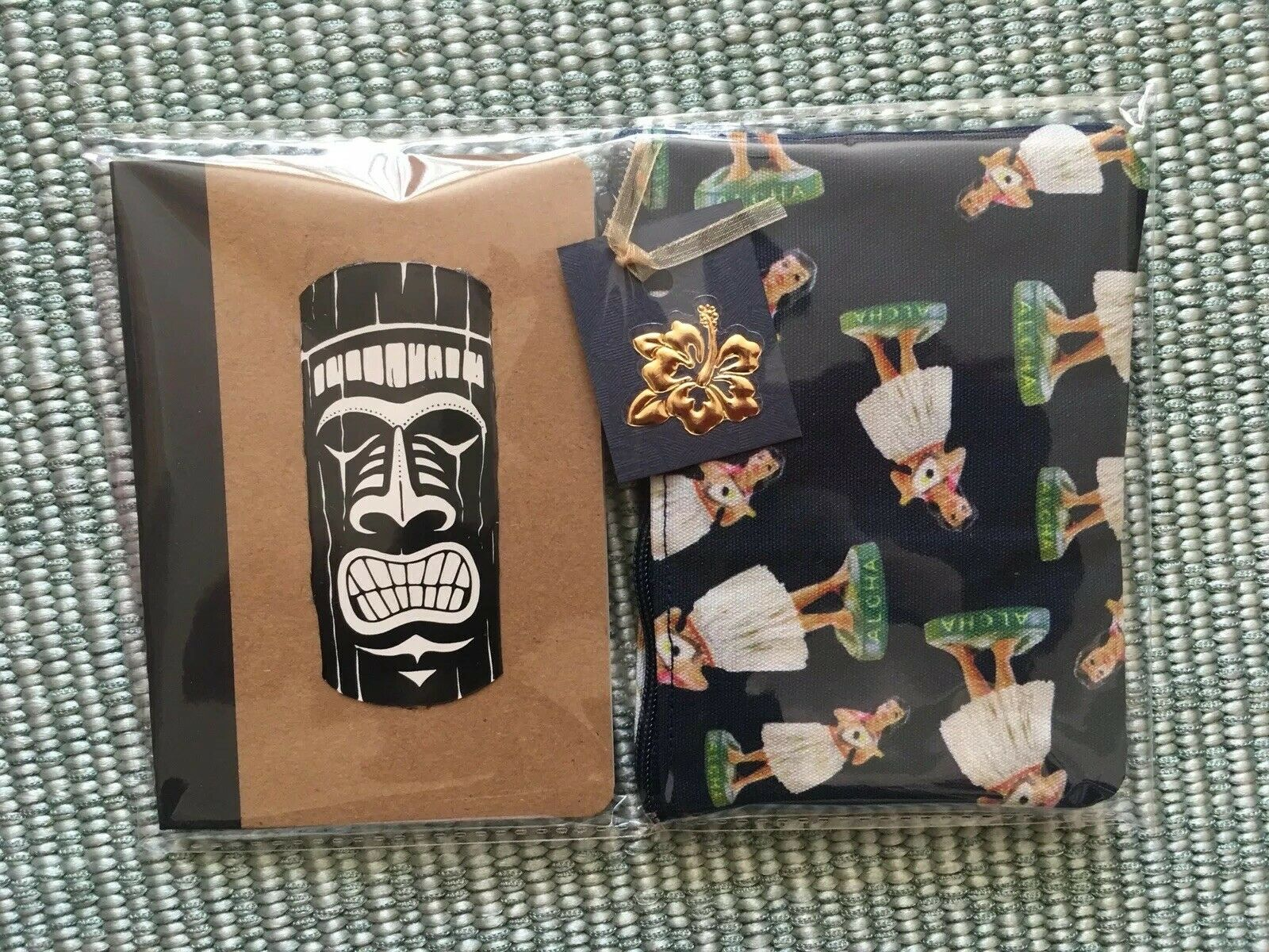 Hawaii Tiki God Notebook + Hula Girl Navy Cosmetic Bag Retro 2pc Gift Set