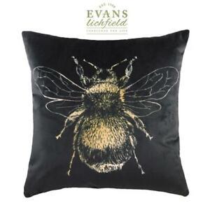 Evans-Lichfield-Dore-Abeille-en-Velours-Noir-Coussin-43-2cmx43-2cm-Doux-Touche