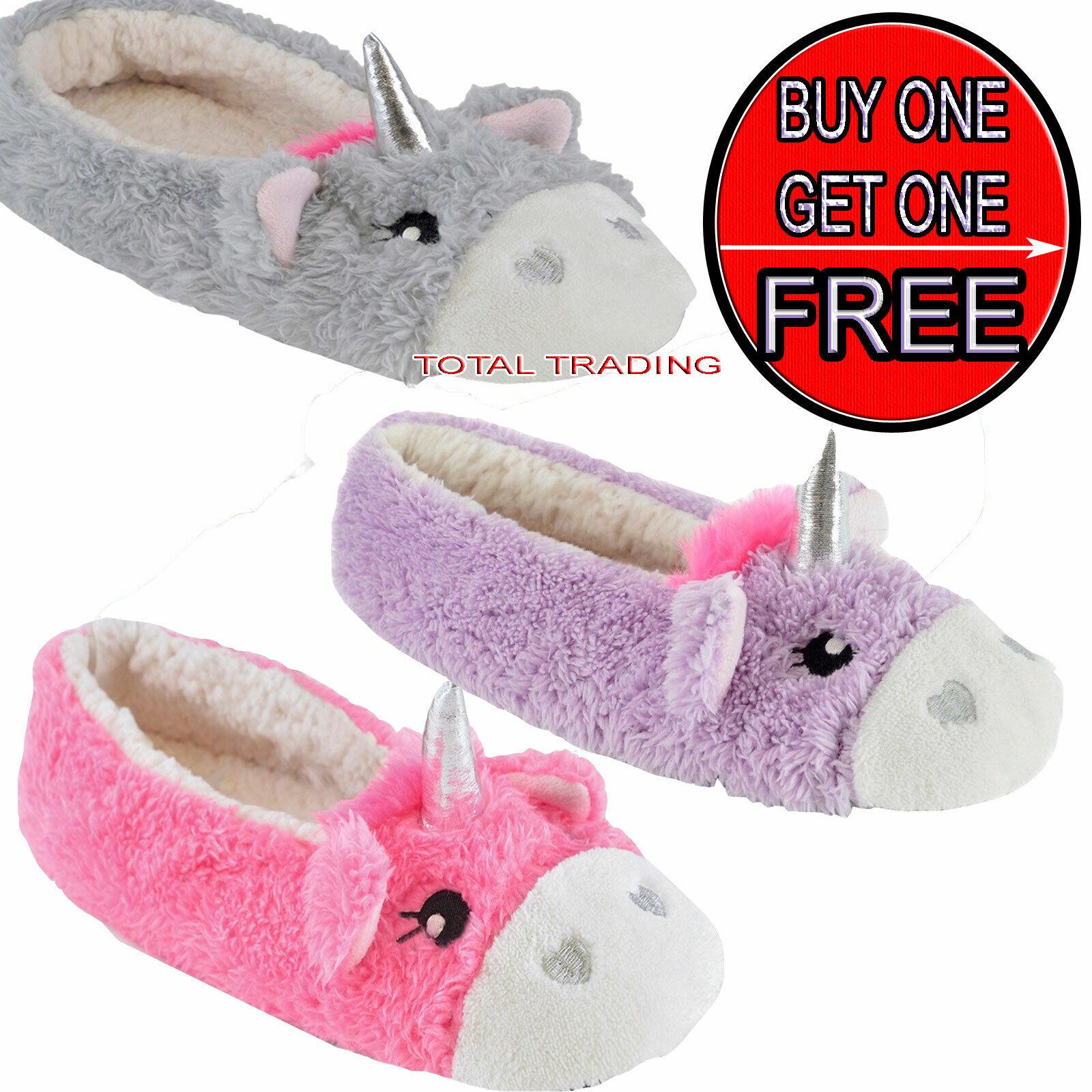 Ladies Girls Womens unicorn Slippers