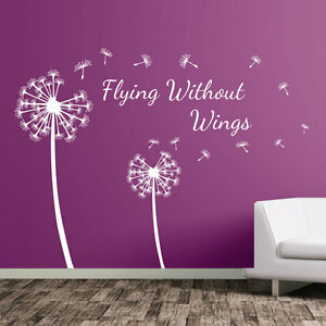 Details about Dandelion Floral Flying Without Wings Decal Wall Stickers  Decor Flower Art A362