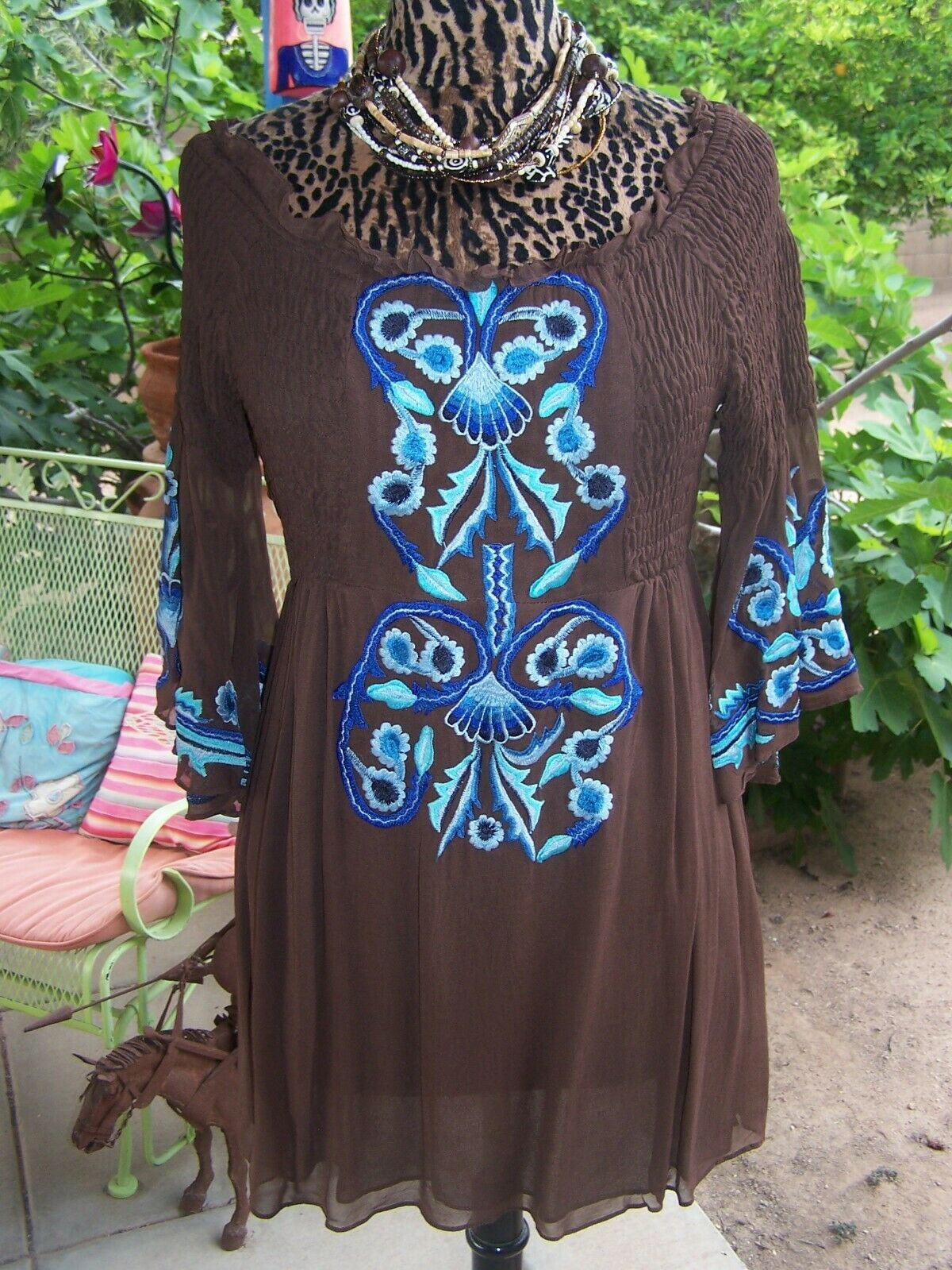 Darling Western Embroiderot Boho Smock Tunic BlouseM LVintage Collection
